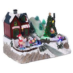 Cenário natalino iluminado árvore em movimento Pai Natal elfos 21x25x16  cm pilhas corrente s4