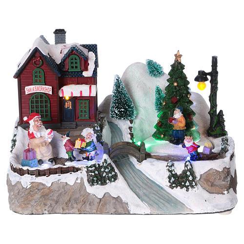 Cenário natalino iluminado árvore em movimento Pai Natal elfos 21x25x16  cm pilhas corrente 1