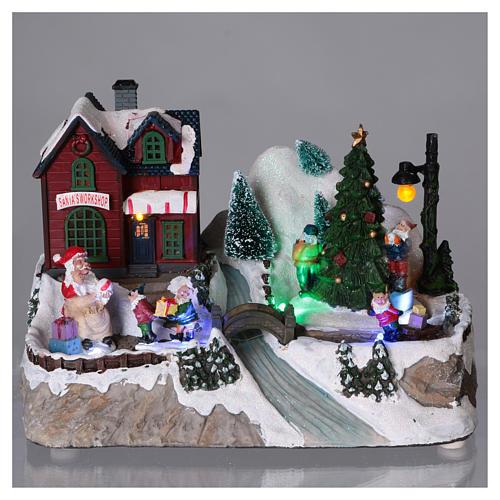 Cenário natalino iluminado árvore em movimento Pai Natal elfos 21x25x16  cm pilhas corrente 2