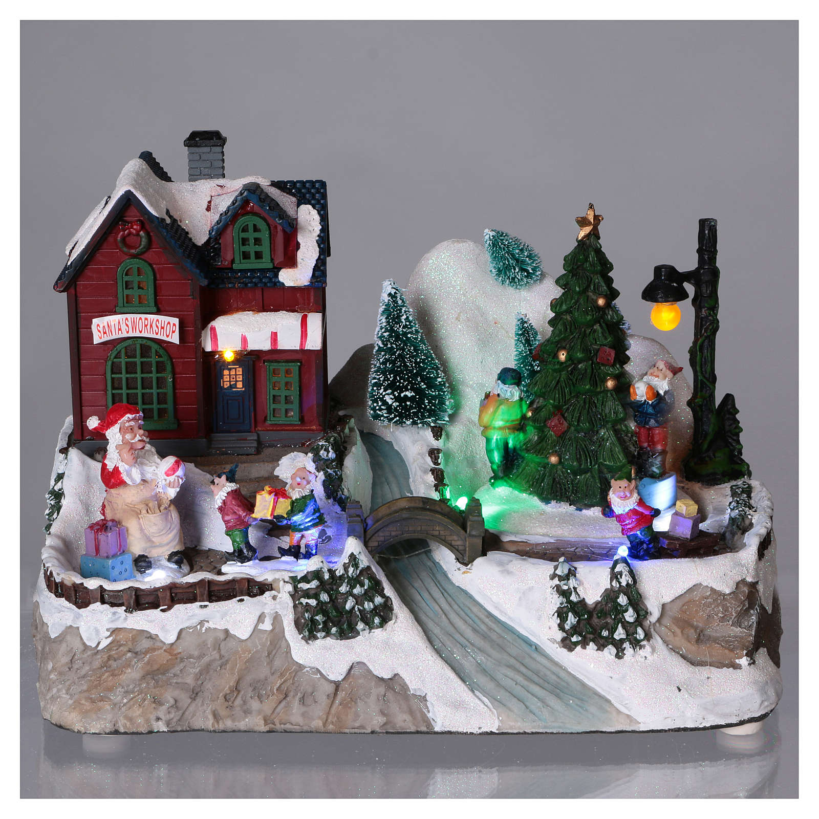 Illuminated Christmas village with animated tree and Santa Claus 20x25x16 cm 3
