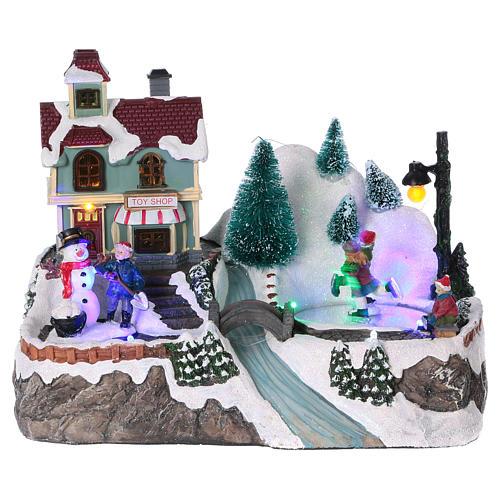 Cenário natalino iluminado patinadores movimento loja de brinquedos 21x25x16 cm pilhas corrente 1
