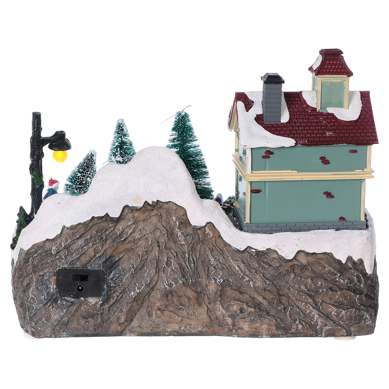 Illuminated Christmas village with animated ice skaters and toy shop 20x25x16 cm 3