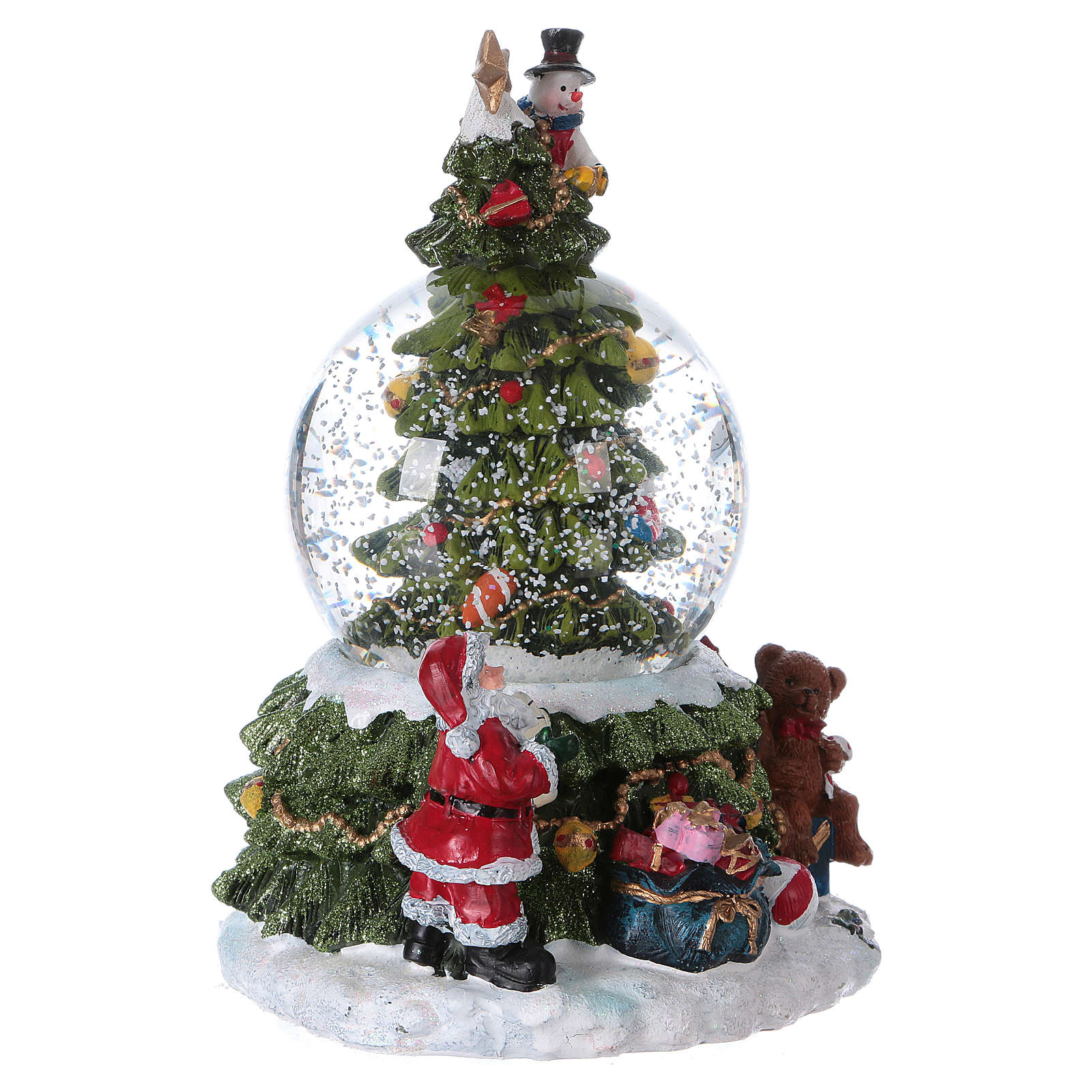 Glass globe with snow, lights and music 18.5 cm in resin with battery-powered movement 3