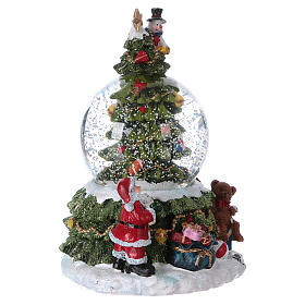 Glass globe with snow, lights and music 18.5 cm in resin with battery-powered movement s3
