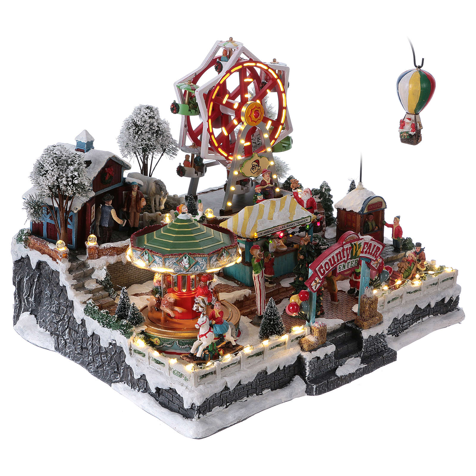 Pueblo de Navidad 30x45x35 cm con feria para niños luces movimieno música corriente 3