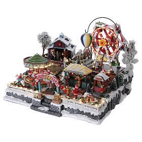 Village de Noël 30x45x35 cm avec fête foraine lumières mouvement musique courant électrique s3