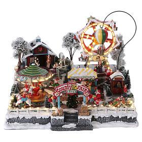 Cenários Natalinos em Miniatura: Cenário de Natal 30x45x35 cm com parque de diversão luzes movimento música corrente