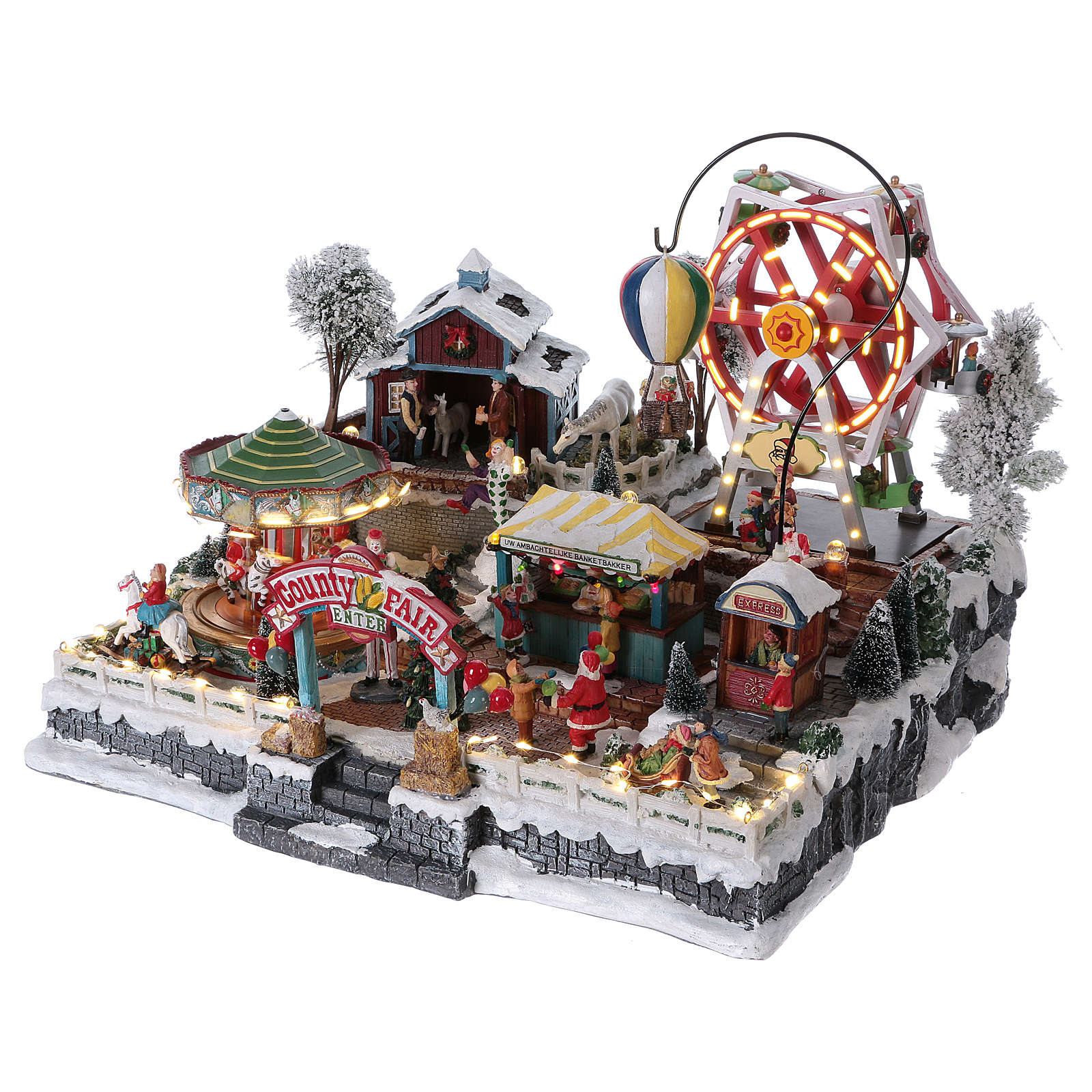 Moving Christmas Town 30x45x35 cm with amusement park and music 3