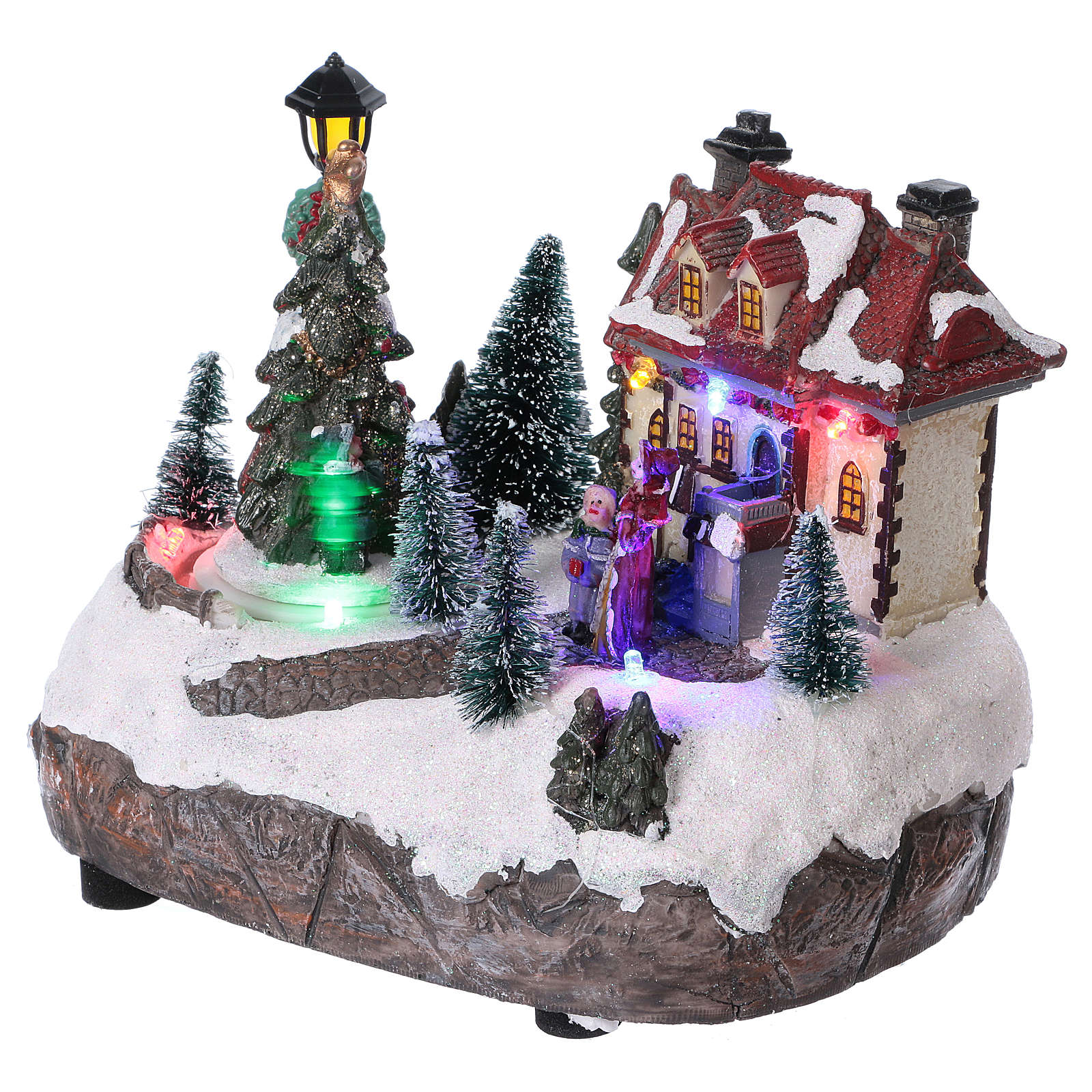 51f73dbc0e3 Pueblo navideño 15x20x10 cm con árbol de Navidad en movimiento batería 3