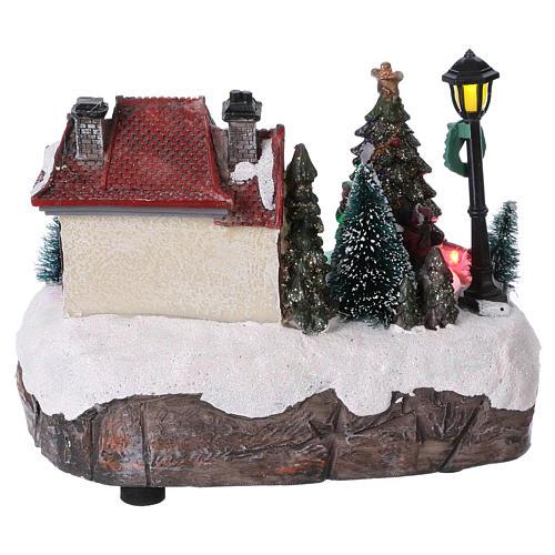 Village de Noël 15x20x10 cm avec sapin de Noël en mouvement piles 5