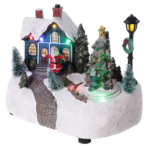 Villaggio di Natale 15x20x10 cm con albero in movimento batteria 3