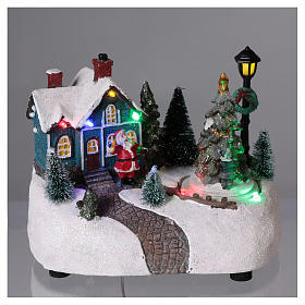 Christmas Town 15x20x10 cm with moving tree battery operated s2