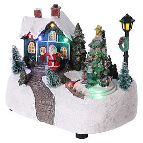Christmas Town 15x20x10 cm with moving tree battery operated s3