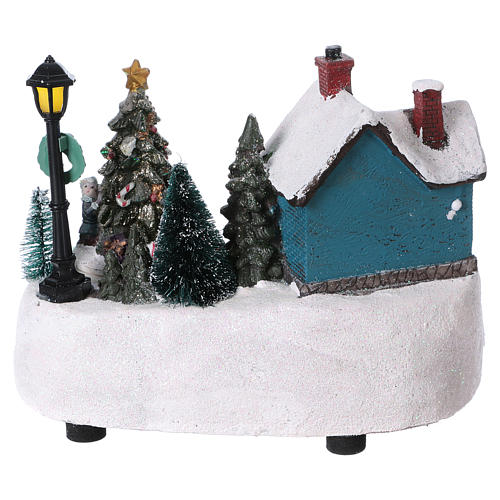 Christmas Town 15x20x10 cm with moving tree battery operated 5