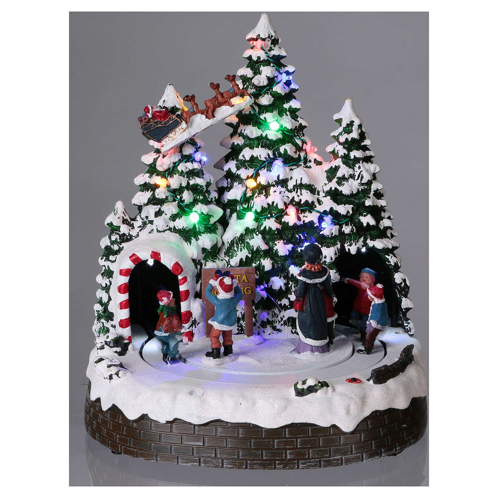 Christmas village with LED lights, moving children 30x25x25 cm 3