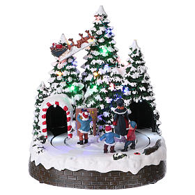 Christmas village with LED lights, moving children 30x25x25 cm s1