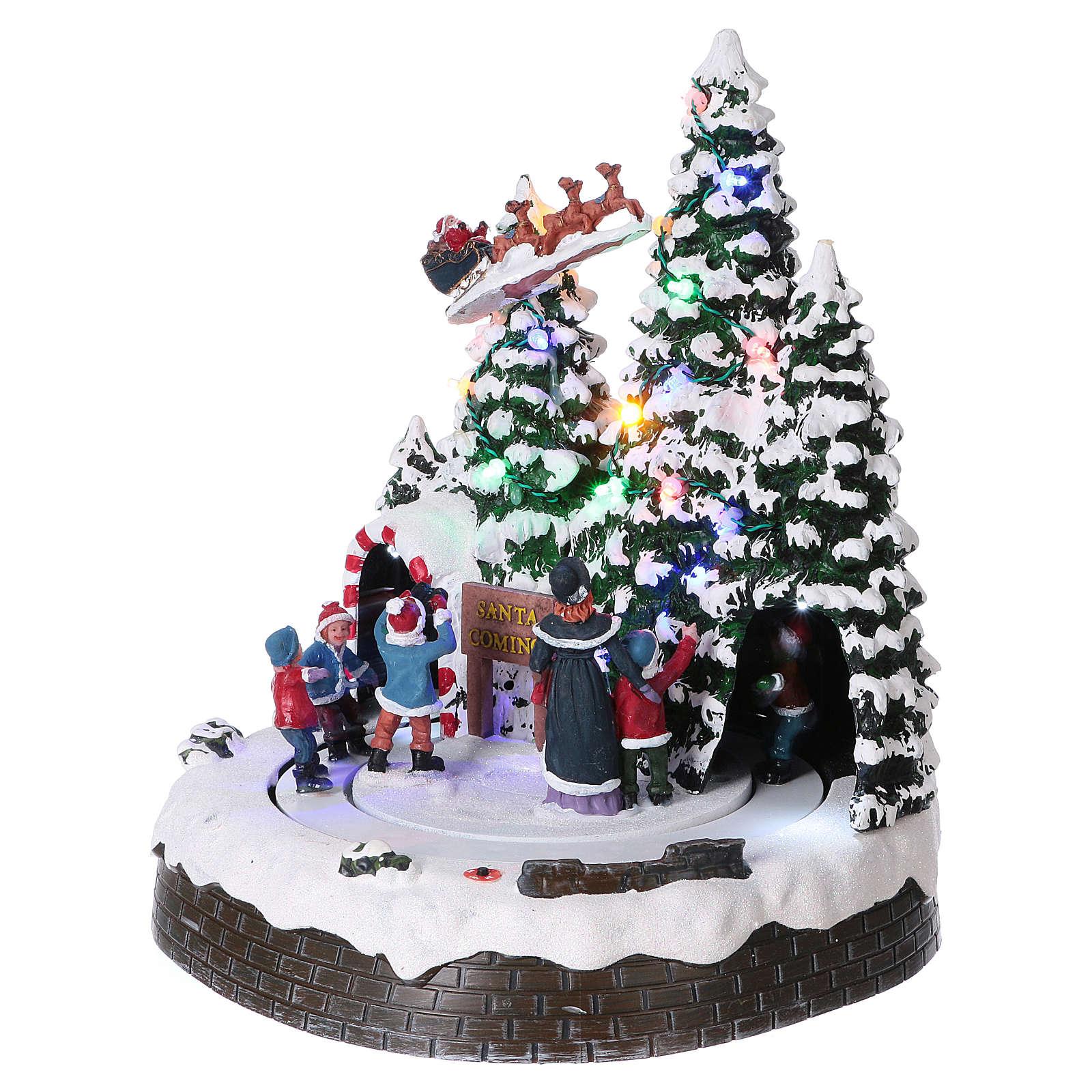 Paisaje invernal 30x25x25 cm niños movimiento batería y corriente 3