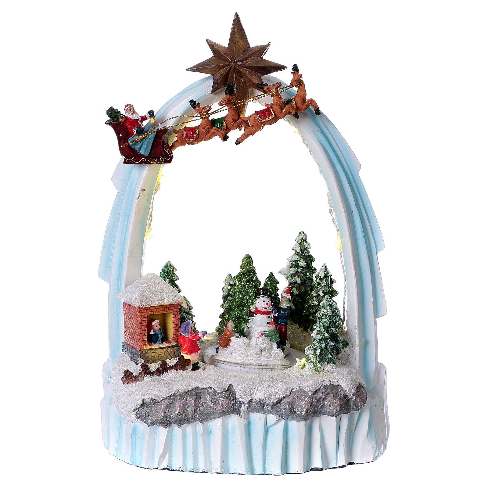 Paysage de Noël en résine 30x20x15 cm enfants mouvement piles 3