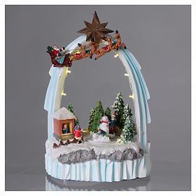 Paysage de Noël en résine 30x20x15 cm enfants mouvement piles s2
