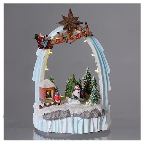 Paysage de Noël en résine 30x20x15 cm enfants mouvement piles 2