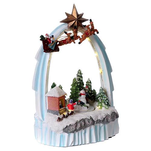 Paysage de Noël en résine 30x20x15 cm enfants mouvement piles 4
