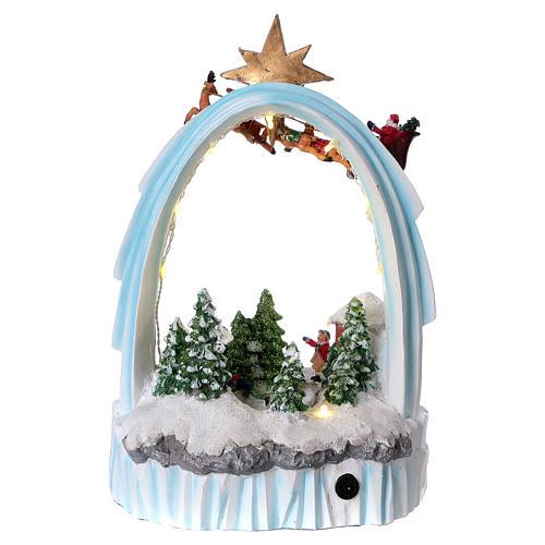 Paysage de Noël en résine 30x20x15 cm enfants mouvement piles 5