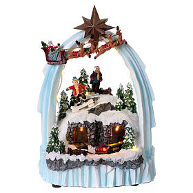 Weihnachtsszene Zug und Weihnachtsmann mit Renntieren 30x20x15cm Licht und Bewegung mit Batterien s1