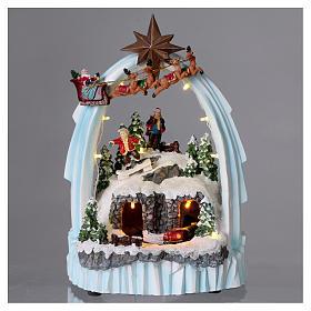Weihnachtsszene Zug und Weihnachtsmann mit Renntieren 30x20x15cm Licht und Bewegung mit Batterien s2