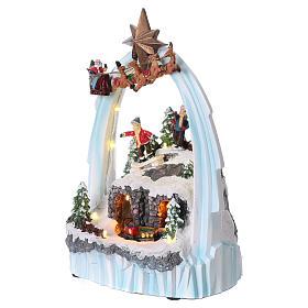 Weihnachtsszene Zug und Weihnachtsmann mit Renntieren 30x20x15cm Licht und Bewegung mit Batterien s3