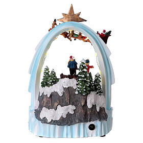 Weihnachtsszene Zug und Weihnachtsmann mit Renntieren 30x20x15cm Licht und Bewegung mit Batterien s5