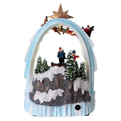Weihnachtsszene Zug und Weihnachtsmann mit Renntieren 30x20x15cm Licht und Bewegung mit Batterien 5