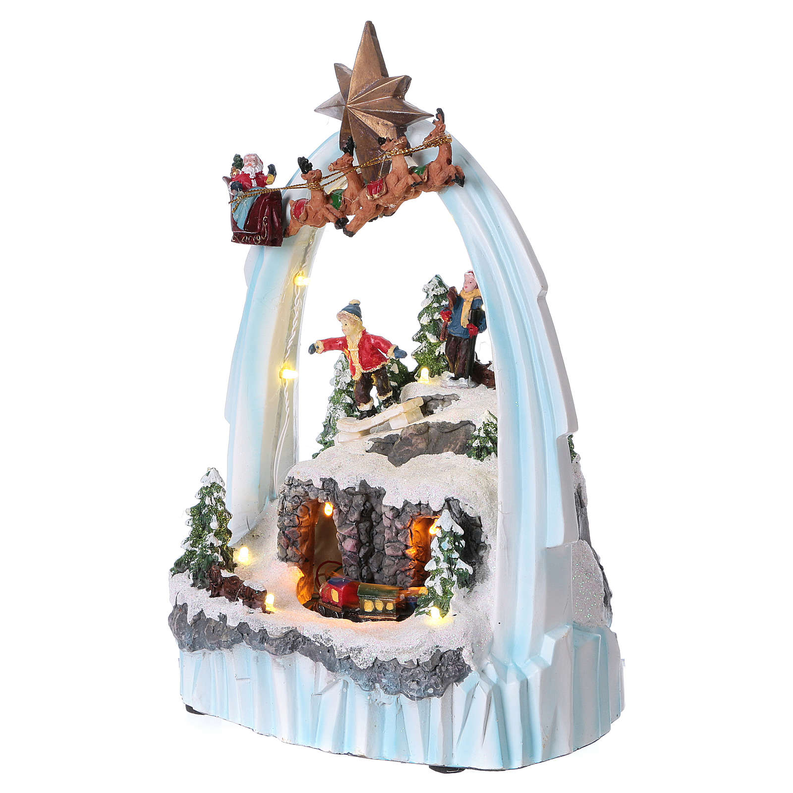 Paysage de Noël en résine 30x20x15 cm train mouvement piles 3