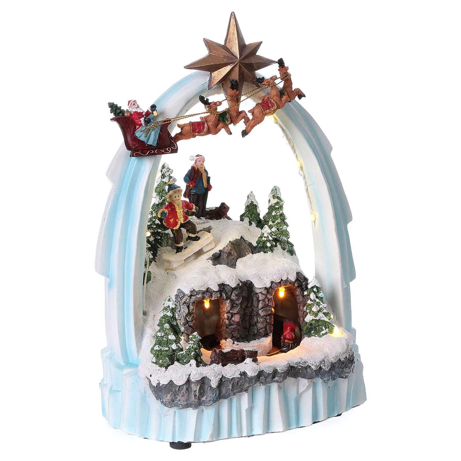 Paesaggio di Natale in resina 30x20x15 cm trenino movimento batteria 3