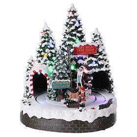 Cenários Natalinos em Miniatura: Paisagem natalina 30x25x20 cm homens em movimento pilhas e corrente