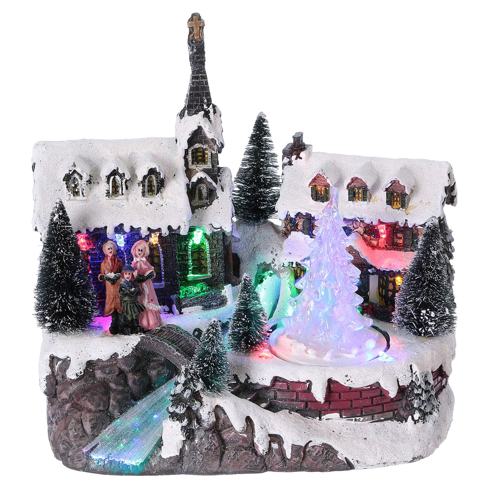 Winterszene gefrorenen Baum 20x20x15cm Licht und Musik 3