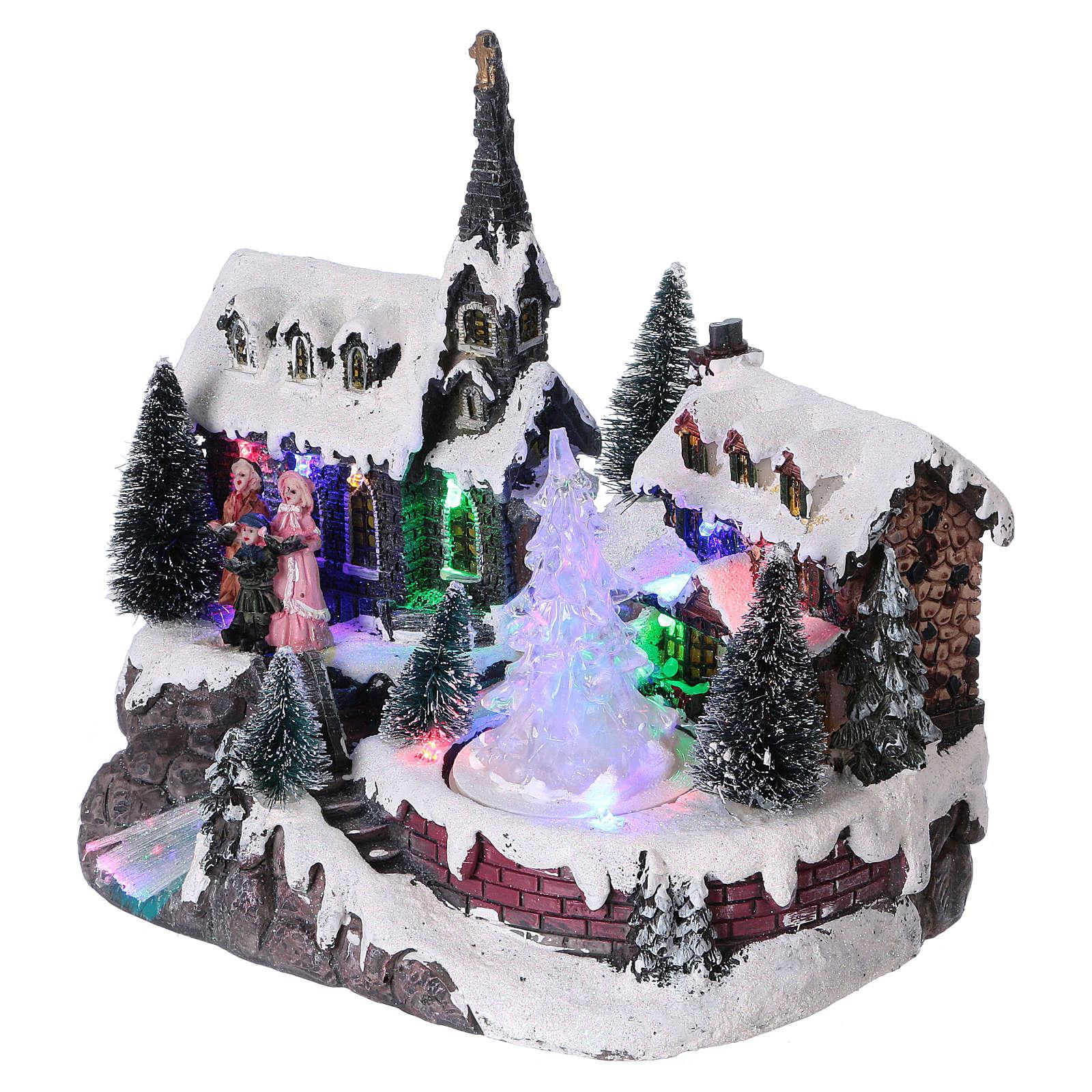 Pueblo de Navidad 20x20x15 cm árbol en movimiento batería 3