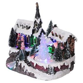 Pueblo de Navidad 20x20x15 cm árbol en movimiento batería s3