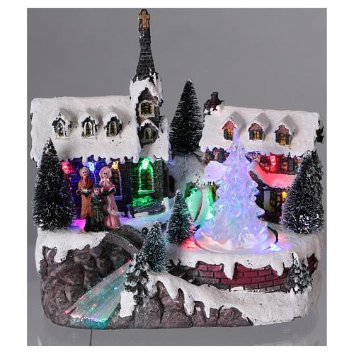 Pueblo de Navidad 20x20x15 cm árbol en movimiento batería 2