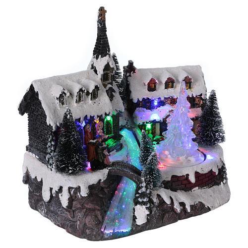 Pueblo de Navidad 20x20x15 cm árbol en movimiento batería 4