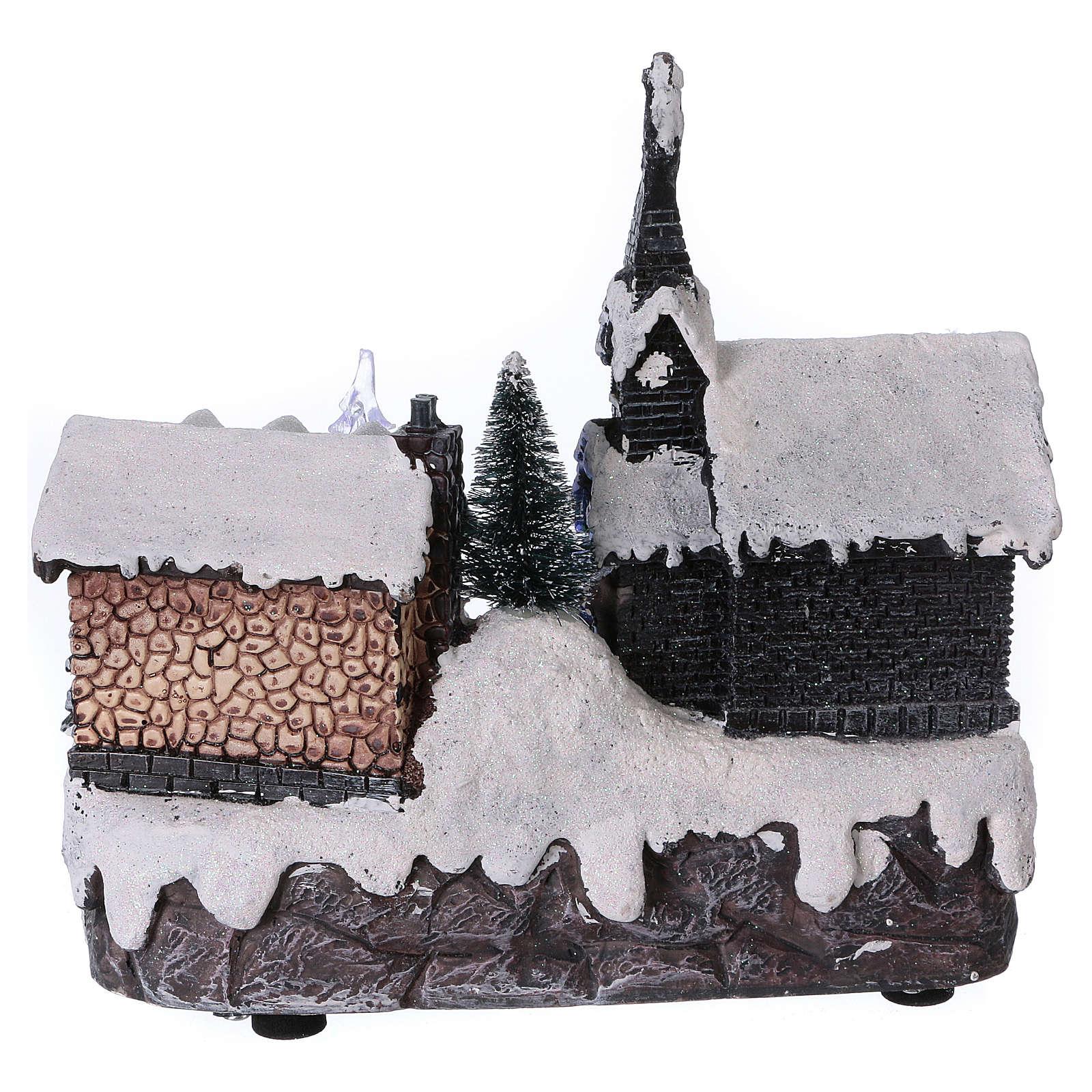 Paysage de Noël 20x20x15 cm sapin en mouvement piles 3