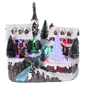 Christmas Village with Carolers and battery powered moving tree s1
