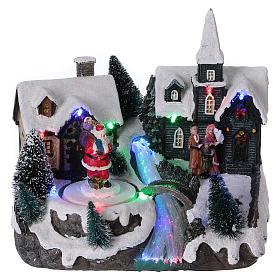 Pueblo de Navidad 20x20x15 cm Papá Noel movimiento batería s1