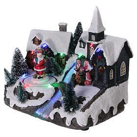 Pueblo de Navidad 20x20x15 cm Papá Noel movimiento batería s3