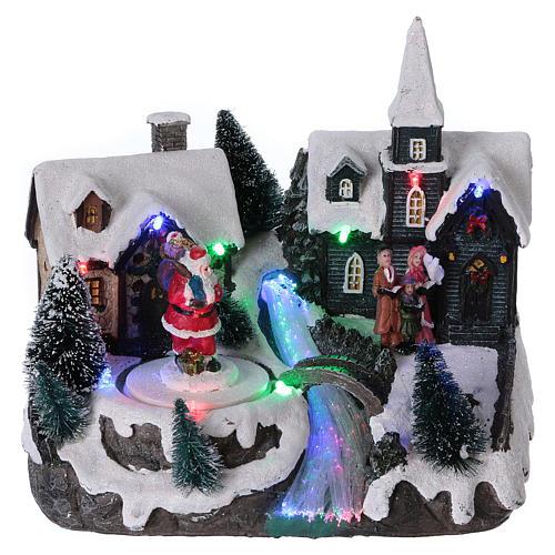 Pueblo de Navidad 20x20x15 cm Papá Noel movimiento batería 1