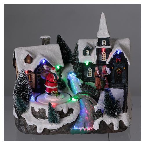 Pueblo de Navidad 20x20x15 cm Papá Noel movimiento batería 2