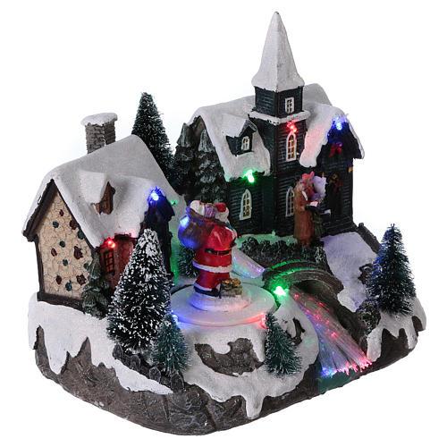 Pueblo de Navidad 20x20x15 cm Papá Noel movimiento batería 4