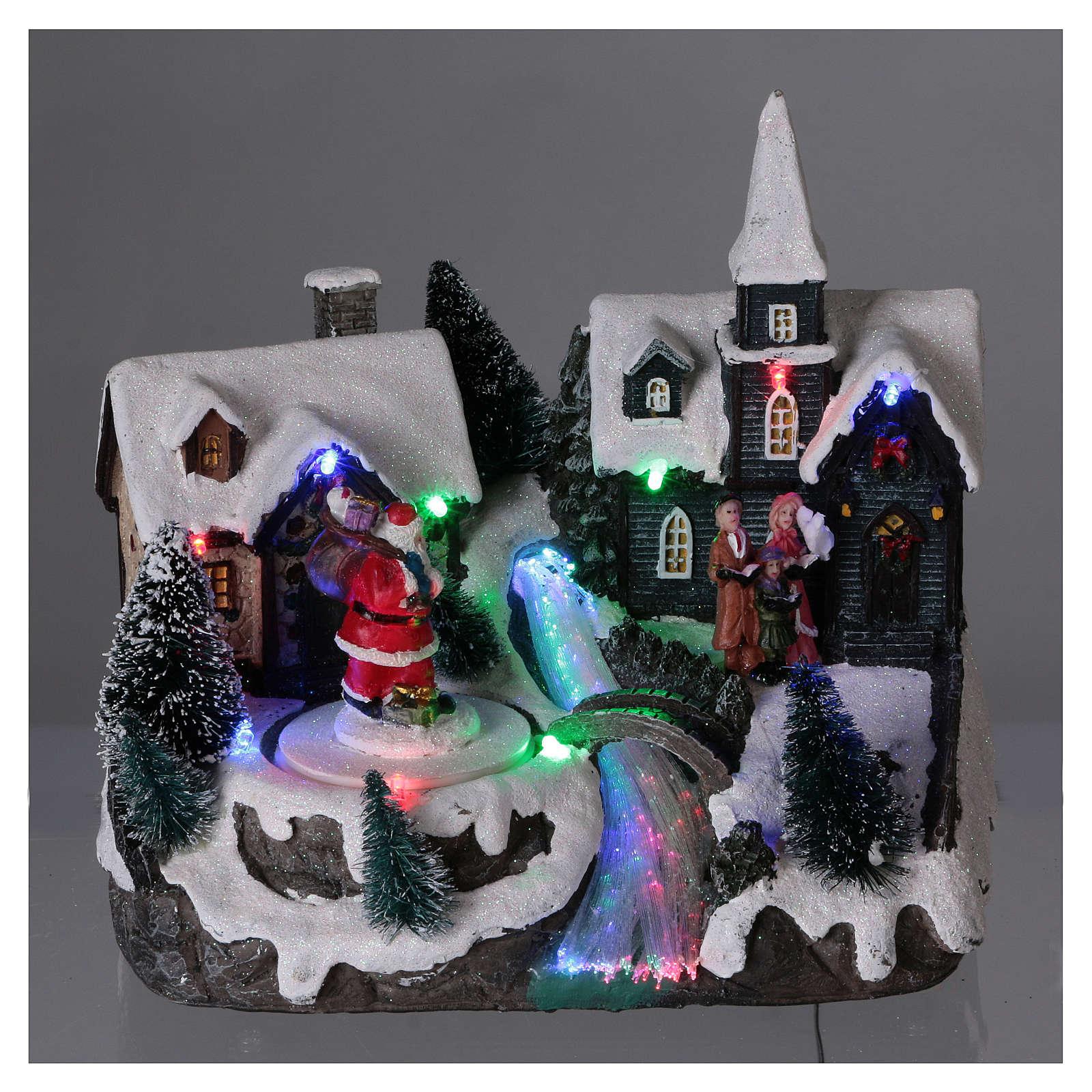 Paysage de Noël 20x20x15 cm Père Noël mouvement piles 3