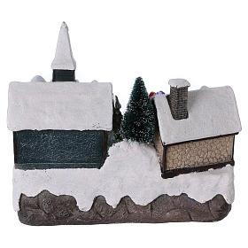Villaggio di Natale 20x20x15 cm Babbo Natale movimento batteria s5