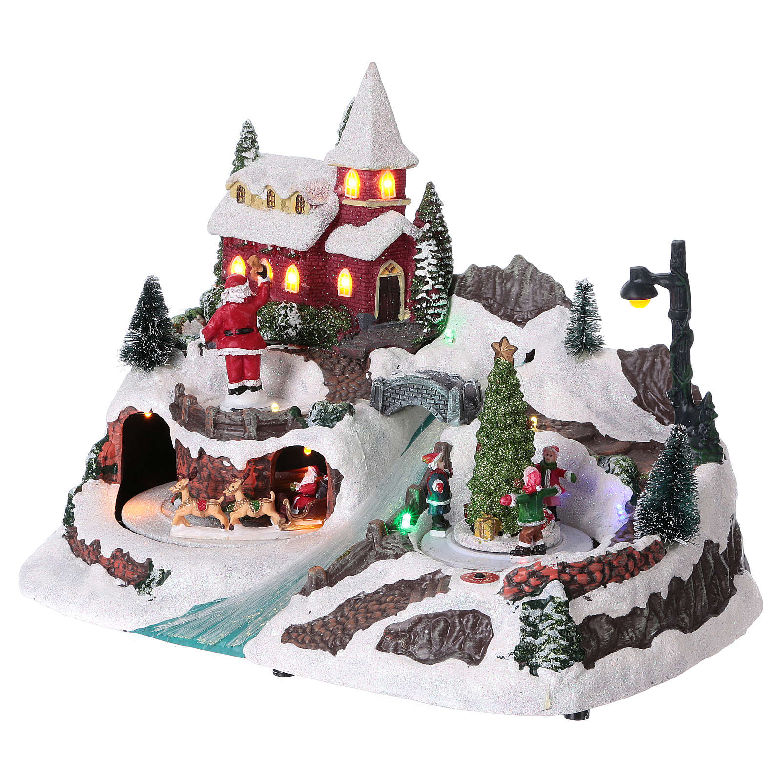 Christmas village with moving ice-skaters and Santa Claus 20x30x20 cm 3