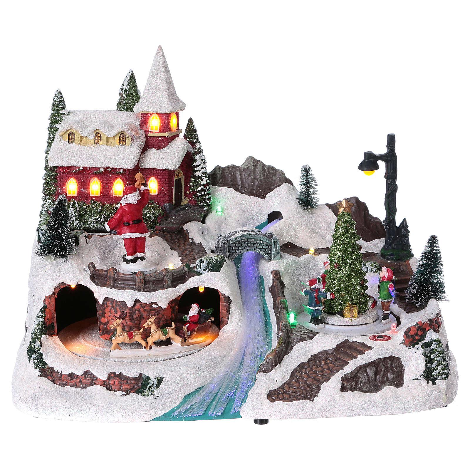 Escena navideña 20x30x20 cm Papá Noel patinadores movimiento batería 3